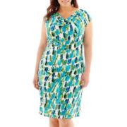RN Studio by Ronni Nicole Cap-Sleeve Cowl Neck Print Dress - Plus