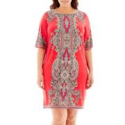 Studio 1® Elbow-Sleeve Paisley Print Boatneck Sheath Dress - Plus