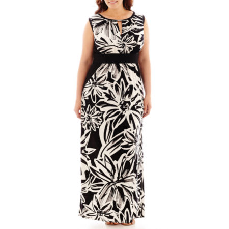 London Style Collection Floral Print Maxi Dress - Plus
