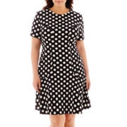 Danny & Nicole® Short-Sleeve Polka Dot Fit-and-Flare Dress - Plus
