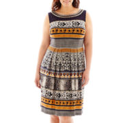 Sandra Darren Sleeveless Beaded-Neck Fit-and-Flare Dress - Plus