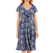Perceptions Elbow-Sleeve Buckle Dress - Petite