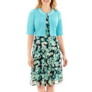 Perceptions Print Lace Dress with Beaded Jacket - Petite