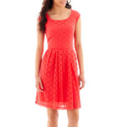 Ronni Nicole Cap-Sleeve Circle Stretch Lace Fit-and-Flare Dress - Petite