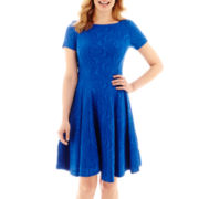 Danny & Nicole® Elbow-Sleeve Wavy Fit-and-Flare Dress - Petite