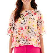 Liz Claiborne® Flutter-Sleeve Print Blouse with Cami - Tall