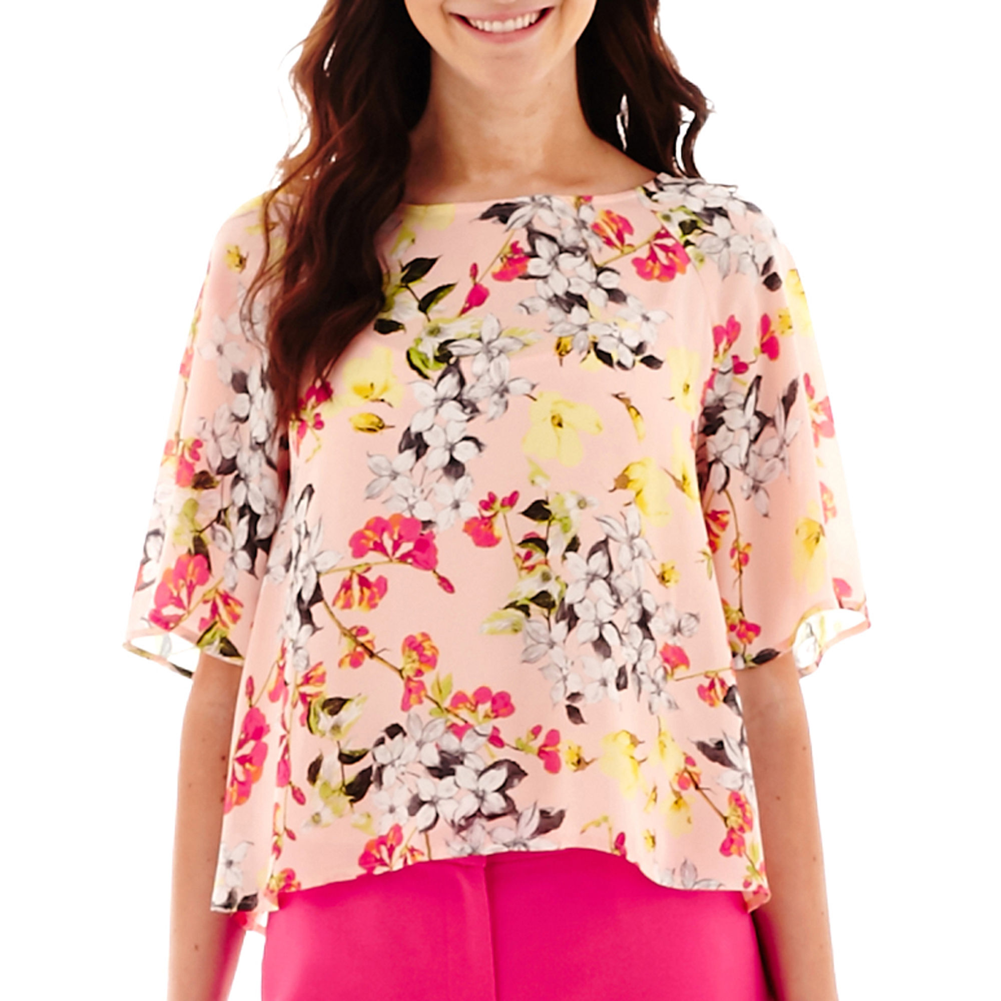 Liz Claiborne Flutter-Sleeve Print Blouse with Cami - Tall