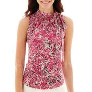 Liz Claiborne® Sleeveless Tie-Neck Print Blouse - Tall