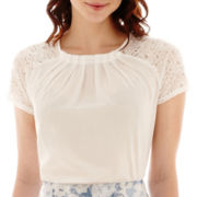 Worthington® Lace-Sleeve Boxy Top - Tall