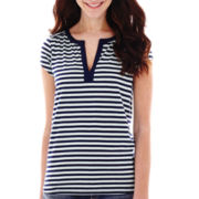 Liz Claiborne® Short-Sleeve Henley Top - Tall