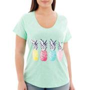 Stylus™ Short-Sleeve Slub Knit Print T-Shirt - Plus
