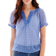 St. John's Bay® Pleated V-Neck Blouse