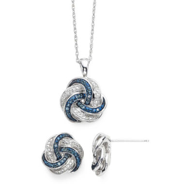 jcpenney.com | 1/10 CT. T.W. White and Color-Enhanced Blue Diamond Love Knot Pendant 2-pc. Set