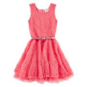 Beautees Soutache Skater Dress - Preschool Girls 4-6x