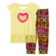 Beautees 2-pc. Fringe Heart Top and Leggings Set – Preschool Girls 4-6x