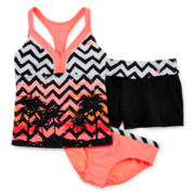 ZeroXposur® 3-pc. Chevron Tankini and Shorts Set – Girls 7-16