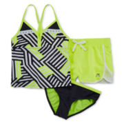 ZeroXposur® 3-pc. Geo-Print Tankini and Shorts Set – Girls 7-16