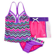 ZeroXposur® 3-pc. Chevron Tankini and Shorts Set – Girls 7-16 and Plus