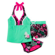 ZeroXposur® 3-pc. Tankini and Shorts Set – Girls 7-16