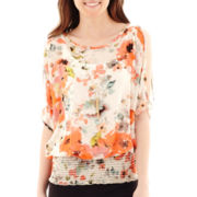 by&by Short-Sleeve Cold-Shoulder Necklace Top