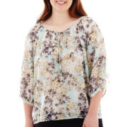 by&by 3/4-Sleeve Cold-Shoulder Peasant Top - Plus