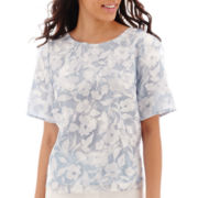 Worthington® Short-Sleeve Organza Blouse - Petite