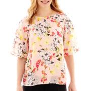 Liz Claiborne® Print Flutter-Sleeve Blouse with Cami - Petite