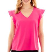 Liz Claiborne® Short-Sleeve Ruffled Blouse - Petite