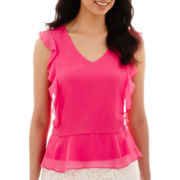 Liz Claiborne® Sleeveless Ruffled Peplum Blouse