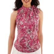 Liz Claiborne® Sleeveless Bow-Neck Print Top