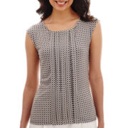 Liz Claiborne® Sleeveless Extended-Shoulder Pleated Top