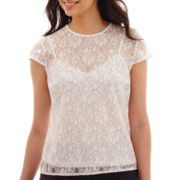 Liz Claiborne® Short-Sleeve Lace Top
