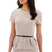 Liz Claiborne® Short-Sleeve Belted Peplum Bouclé Top