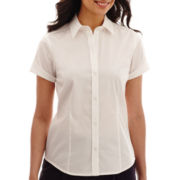 Liz Claiborne® Short-Sleeve Button-Front Shirt - Tall