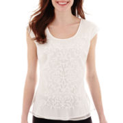 Worthington® Sleeveless Embroidered Blouse