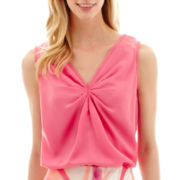 Worthington® Sleeveless Knot-Front Blouse