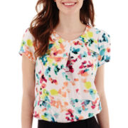 Worthington® Short-Sleeve Ruffle Shoulder Blouse - Tall