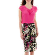 Worthington® Pleat-Neck Blouse or Print Pencil Skirt