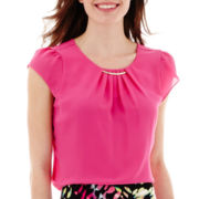 Worthington® Short-Sleeve Pleat-Neck Blouse