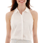 Worthington® Sleeveless Collared Halter Top