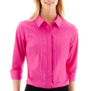 Worthington® 3/4-Sleeve Button-Front Shirt - Petite