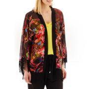 i jeans by Buffalo 3/4-Sleeve Print Fringe Kimono