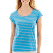 i jeans by Buffalo Short-Sleeve Striped Shimmer T-Shirt
