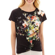 i jeans by Buffalo Short-Sleeve Print Twist-Front Top