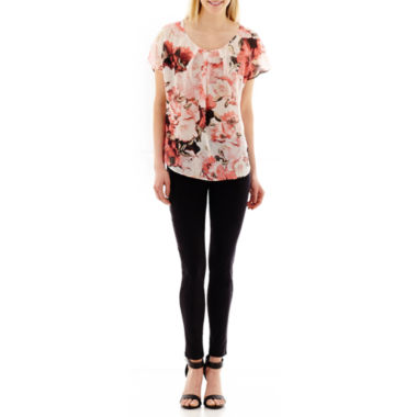 jcpenney.com | Alyx® Dolman-Sleeve Floral Print Sheer Top or Slim Millennium Pants
