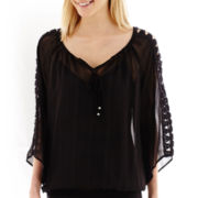 Alyx® 3/4-Sleeve Crochet-Cutout Top