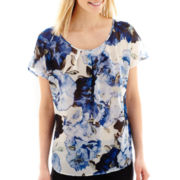 Alyx® Short-Sleeve Floral Print Sheer Top