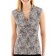 Alyx® Sleeveless Geo Print Ruched-Front Top