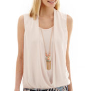 Alyx® Sleeveless Wrap-Front Top with Necklace