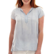 Liz Claiborne® Short-Sleeve Peasant Blouse
